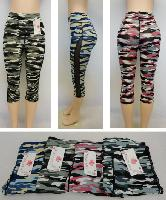 Ladies Active Fitness Capris [Camo with Mesh Sides]